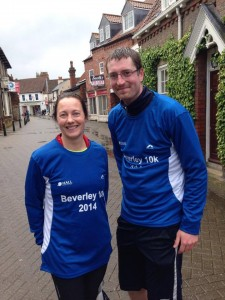 Directors Lynne and Jonathan at the 2014 Beverley 10km